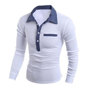 Turn-Down Collar Chambray Splicing Long Sleeve Buttons Men's Polo T-Shirt - WHITE M