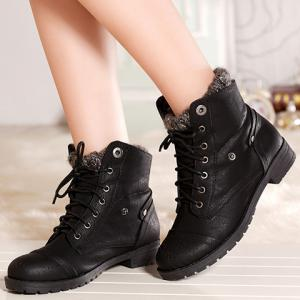 Retro Engraving and Lace-Up Design Women's Sweater Boots - BLACK 36