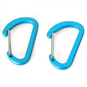 NatureHike 4cm D-shape Flat 2pcs Carabiner Stainless Steel Made - BLUE