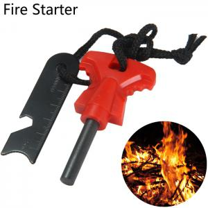 LM-5Y Multi-function Fire Starter with Bottle Opener Ruler Functions - Red