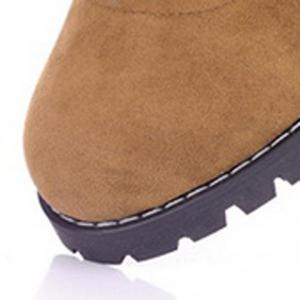 Suede Chunky Heel Booties - BROWN 34