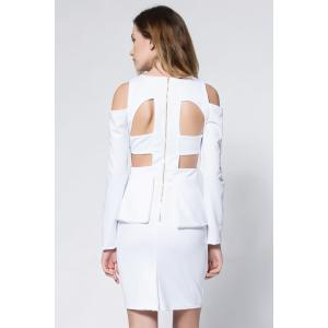 Crepe Cold Shoulder Cage Back Body-Conscious Dress - WHITE S