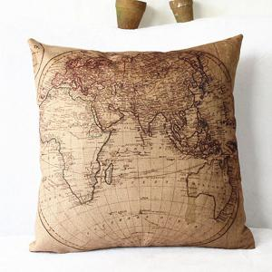 Classical Linen World Map Pattern Decorative Pillowcase(Without Pillow Inner) -