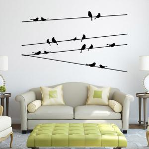 Personalized Telegraph Poles and Birds Style Removable Wall Stickers for Room Window Decoration - AS THE PICTURE