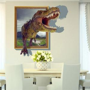 3D Dinosaur Style Removable Wall Stickers Colorful Room Window Decoration for Bedroom Store - AS THE PICTURE SIZE 3