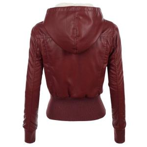 Stylish Hooded Long Sleeve Slimming Faux Leather Women's Jacket -