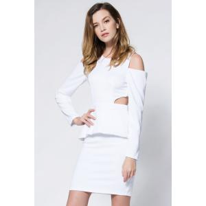 Crepe Cold Shoulder Cage Back Body-Conscious Dress -