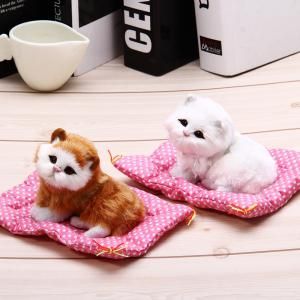 Simulation animal endormi Cat Toy Craft avec Sound - Blanc
