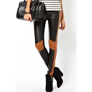 Slimming Color Block PU Leather Spliced Women's Skinny Pants