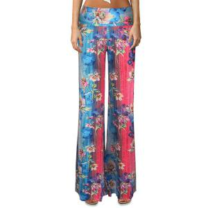 Ethnic Elastic Waist Floral Print Color Block Women's Flare Leg Pants