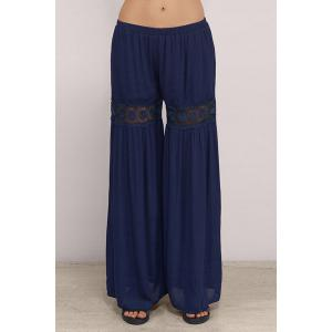 Stylish Blue Lace Spliced Women's Palazzo Pants