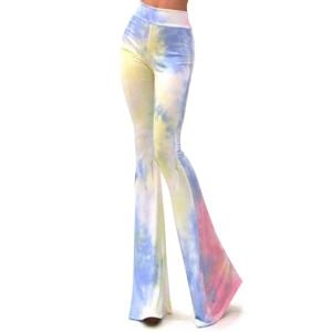 Stylish Printed Casual High Waisted Women's Bell Bottom Pants - Colormix - S