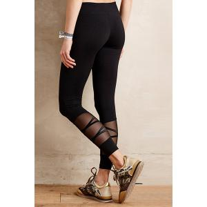 Casual Style Black Voile Spliced Women's Leggings -