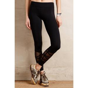 Casual Style Black Voile Spliced Women's Leggings