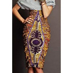 High Waisted Printed Bodycon Skirt - Colormix - S