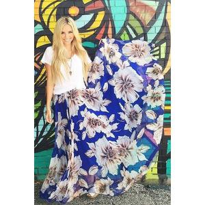 Stylish High Waisted Flower Print Women's Maxi Skirt