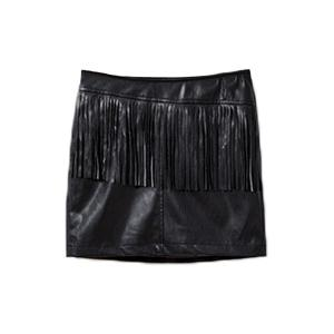 Chic Mid-Waisted Fringed Packet Buttocks Women's Faux Leather Skirt -