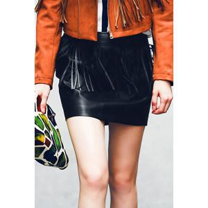 Chic Mid-Waisted Fringed Packet Buttocks Women's Faux Leather Skirt - Black - L