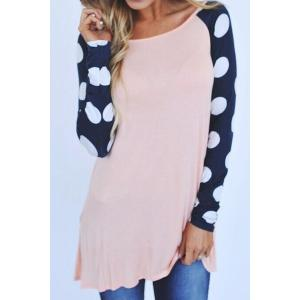 Stylish Scoop Neck Long Sleeve Polka Dot Splicing Women's T-Shirt