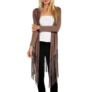 Casual Open Front Long Sleeve Tassels Women's Trench Coat