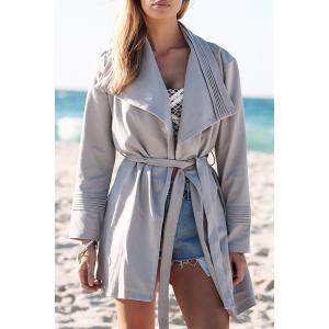 Stylish Turn Down Collar Light Gray Women's Trench Coat - Light Gray - S