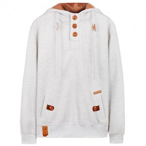 Hooded Half Button Up Pullover Hoodie