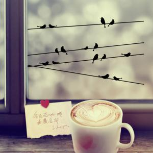 Personalized Telegraph Poles and Birds Style Removable Wall Stickers for Room Window Decoration -