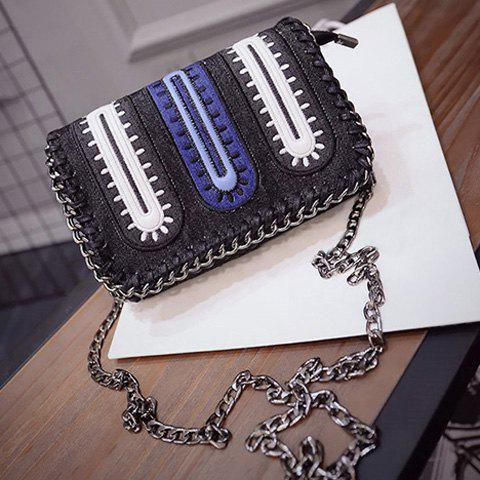 Discount Stylish Color Matching and Chains Design Women's Crossbody Bag - BLACK  Mobile