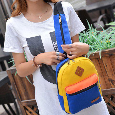 Trendy Fashionable Zipper and Colour Block Design Women's Backpack - BLUE AND YELLOW  Mobile