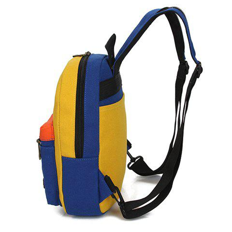 Hot Fashionable Zipper and Colour Block Design Women's Backpack - BLUE AND YELLOW  Mobile