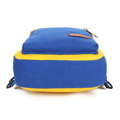 Fashion Fashionable Zipper and Colour Block Design Women's Backpack - BLUE AND YELLOW  Mobile