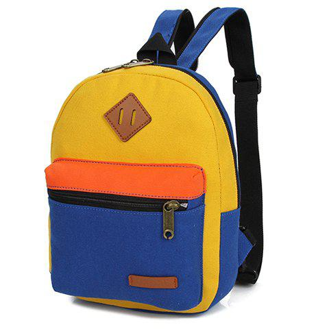 Shop Fashionable Zipper and Colour Block Design Women's Backpack - BLUE AND YELLOW  Mobile