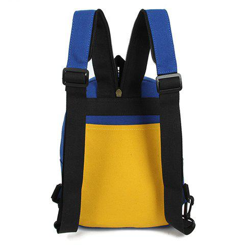 Shops Fashionable Zipper and Colour Block Design Women's Backpack - BLUE AND YELLOW  Mobile