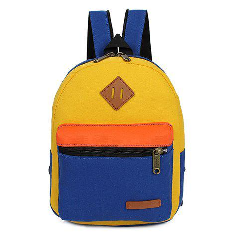 Fancy Fashionable Zipper and Colour Block Design Women's Backpack - BLUE AND YELLOW  Mobile