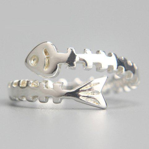 Alloy Fish Bone Cuff Ring - SILVER ONE-SIZE