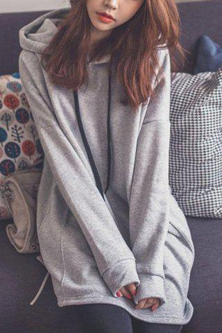 Outfit Stylish Hooded Long Sleeve Loose Fitting Pocket Design Women's Hoodie GRAY L