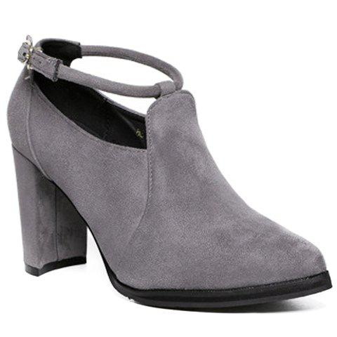 Shops Stylish Ankle Strap and Pointed Toe Design Women's Pumps - 39 GRAY Mobile