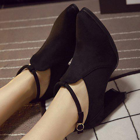 Buy Stylish Ankle Strap and Pointed Toe Design Women's Pumps - 37 BLACK Mobile