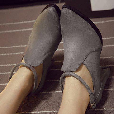Unique Stylish Ankle Strap and Pointed Toe Design Women's Pumps - 36 GRAY Mobile