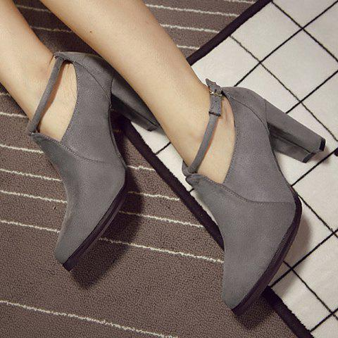Fashion Stylish Ankle Strap and Pointed Toe Design Women's Pumps - 36 GRAY Mobile