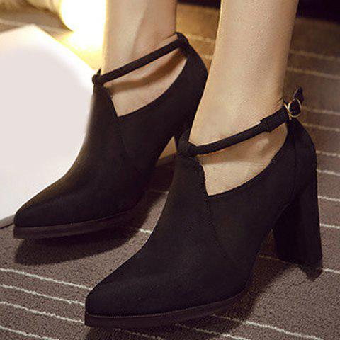 Hot Stylish Ankle Strap and Pointed Toe Design Women's Pumps - 37 BLACK Mobile