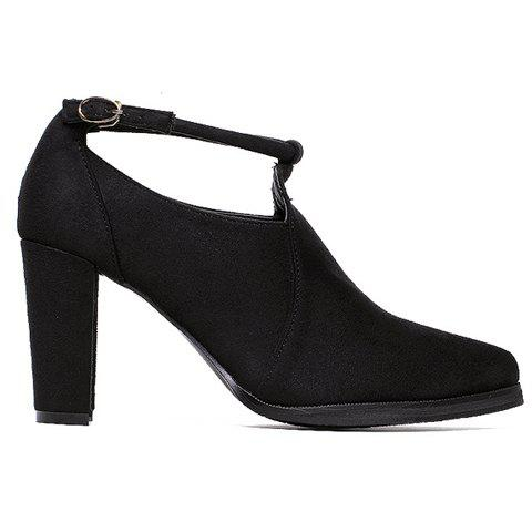 Shops Stylish Ankle Strap and Pointed Toe Design Women's Pumps - 37 BLACK Mobile