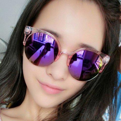 Sale Chic Transparent Frame Candy Color Sunglasses For Women - PINK  Mobile