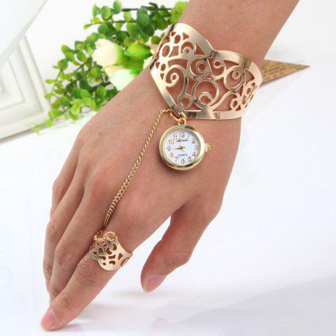 Chic Ailisha Hollow-out Pattern Bracelet Quartz Watch with Steel Strap Ring Round Dial for Women GOLDEN