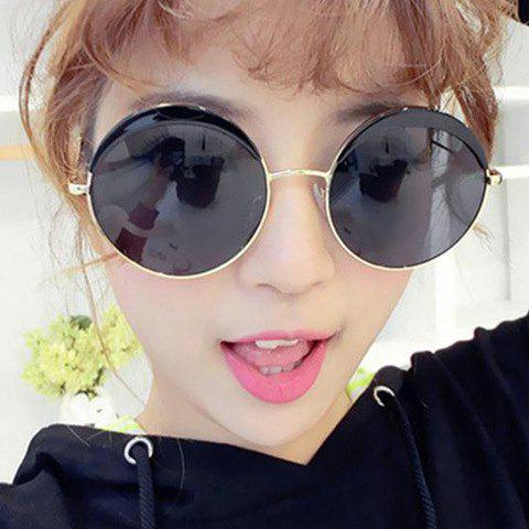 Trendy Chic Retro Big Alloy Round Frame Sunglasses For Women