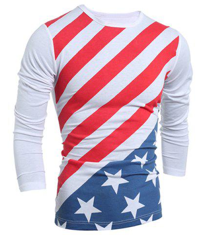 Latest Distressed American Flag Print Long Sleeve T-Shirt - 2XL WHITE Mobile
