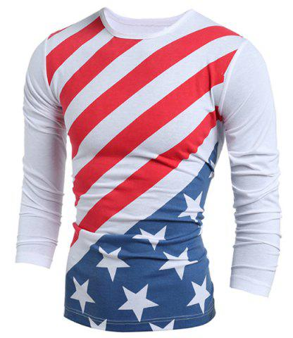 Chic Distressed American Flag Print Long Sleeve T-Shirt - 2XL WHITE Mobile