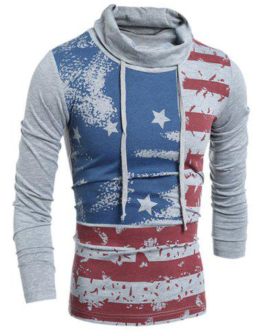 Latest Western Style Drawstring Heaps Collar American Flag Print Hit Color Long Sleeves Men's Slim Fit T-Shirt GRAY XL