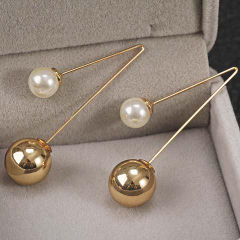 Outfits Pair of Alloy Faux Pearl Ball Shape Earrings