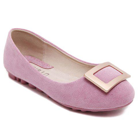 Sale Laconic Solid Color and Round Toe Design Women's Flat Shoes PINK 39